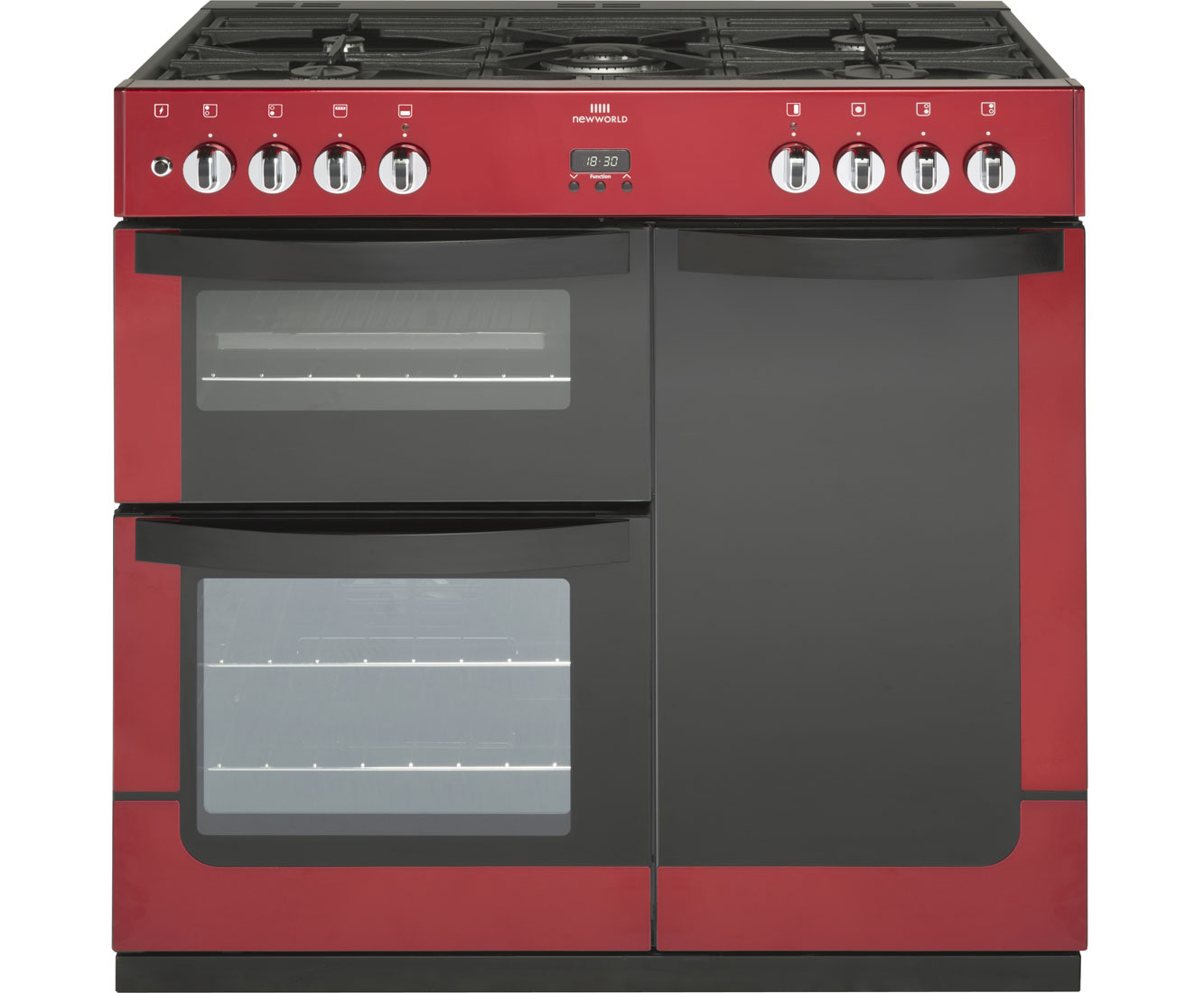 Newworld VISION90DF 90cm Dual Fuel Range Cooker - Red
