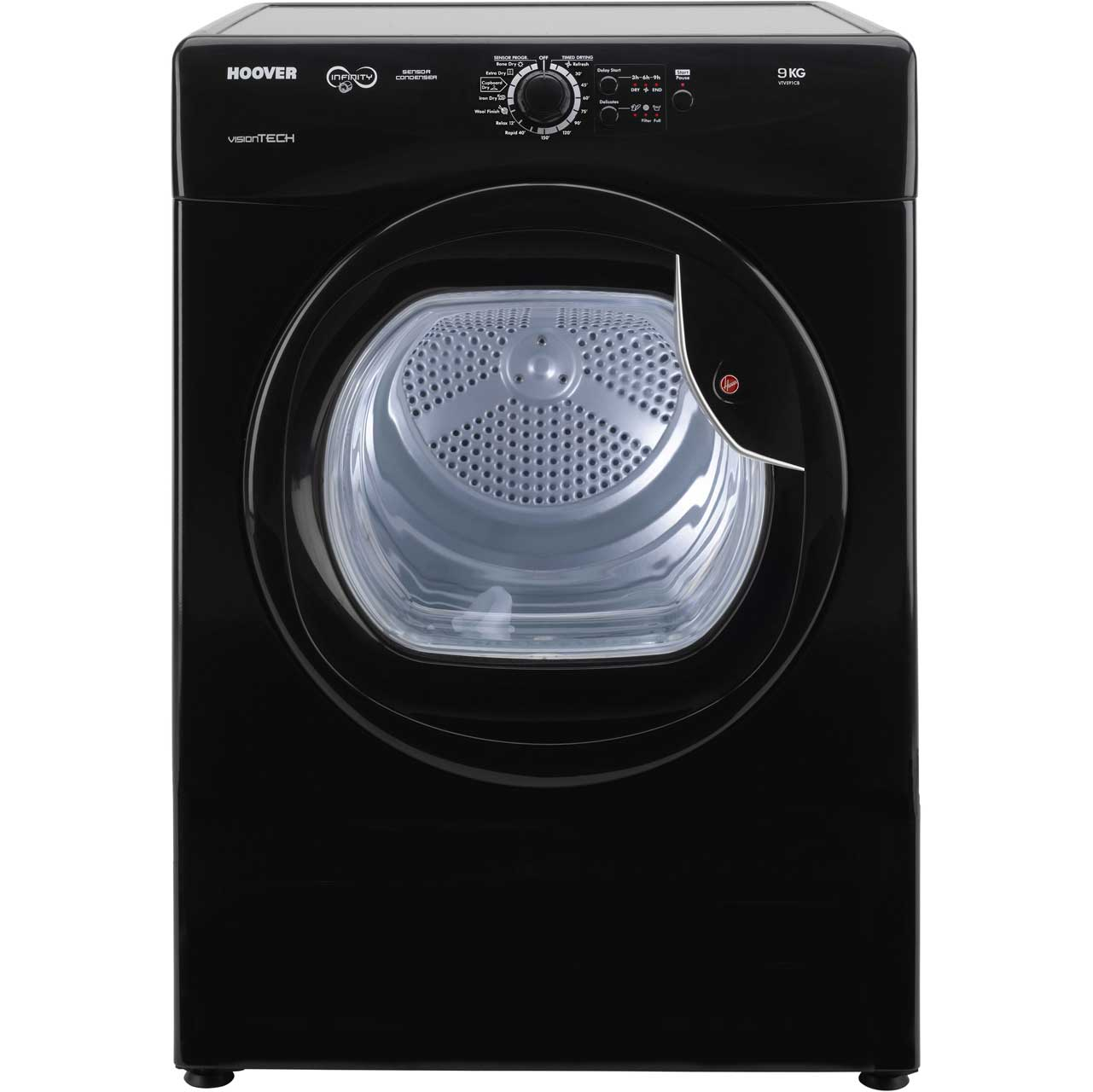Hoover Vision Tech VTV591CB Free Standing Vented Tumble Dryer in Black