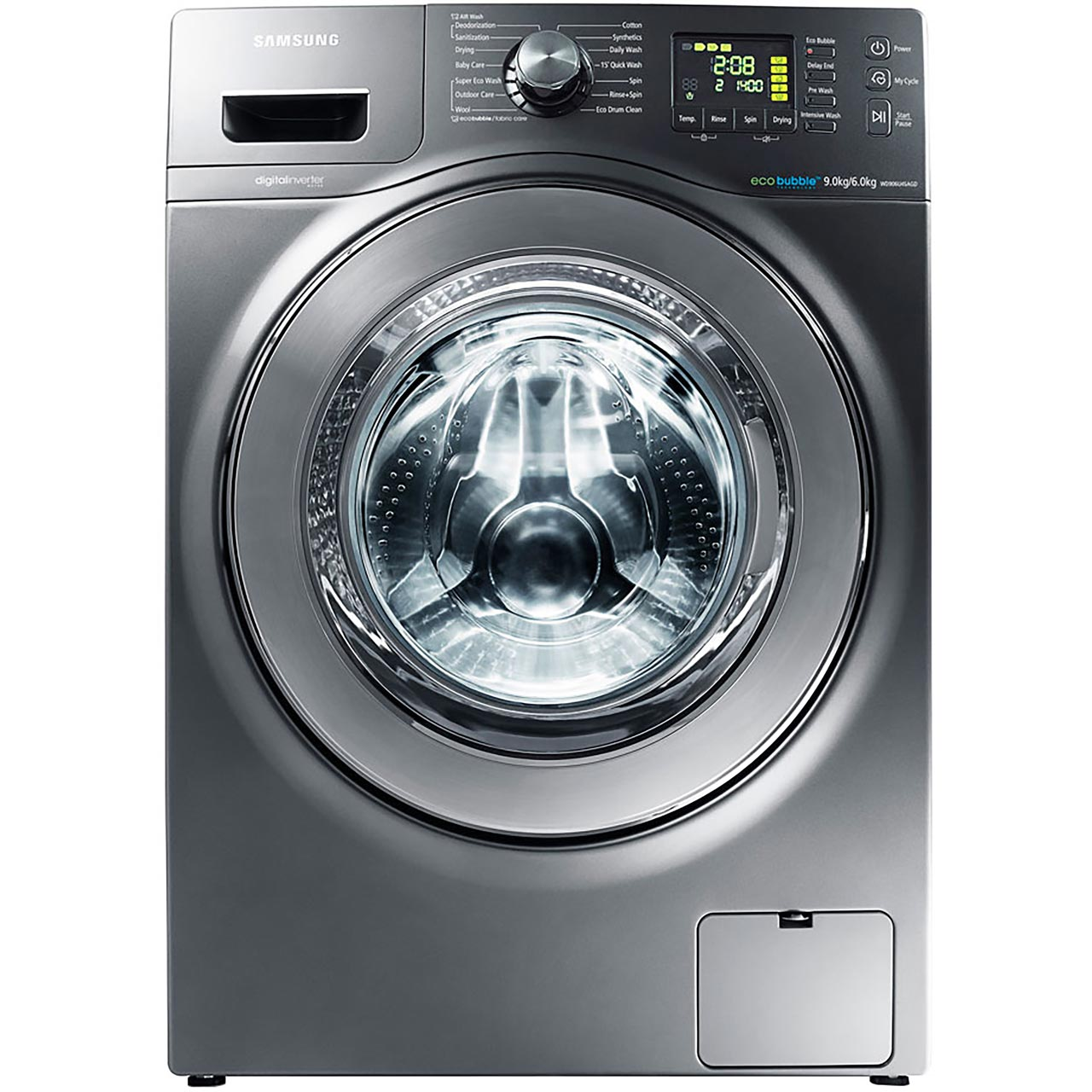 Samsung Ecobubble WD906U4SAGD 9Kg / 6Kg Washer Dryer with 1400 rpm - Stainless Steel Look