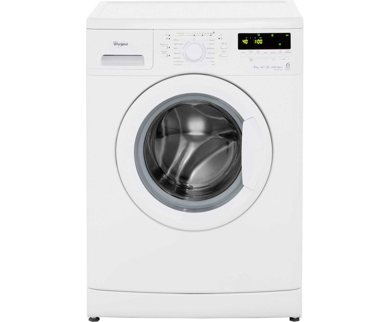 Whirlpool 6th Sense WWDC7440 7Kg Washing Machine with 1400 rpm - White