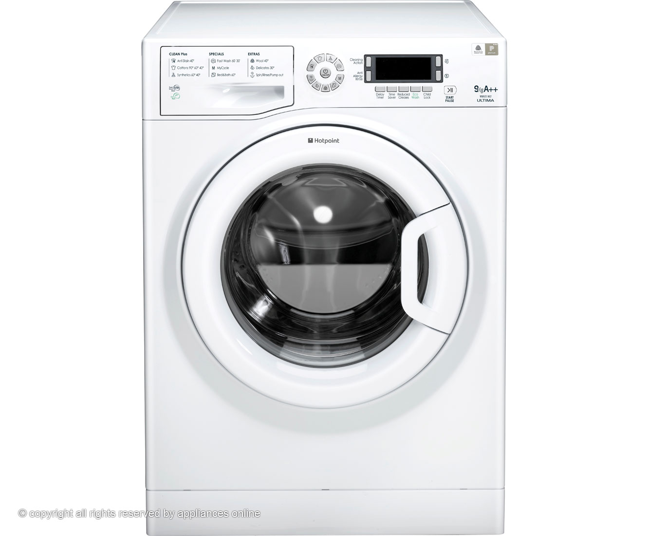 Hotpoint Ultima WMUD962P 9Kg Washing Machine with 1600 rpm - White