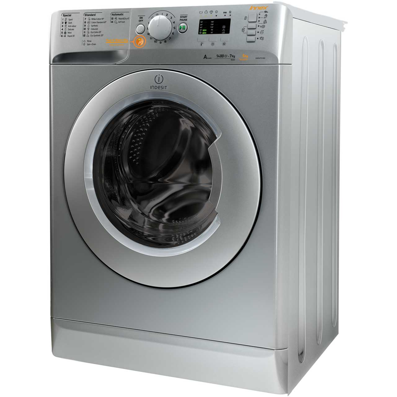 Indesit Innex XWDE751480XS 7Kg / 5Kg Washer Dryer with 1400 rpm - Silver