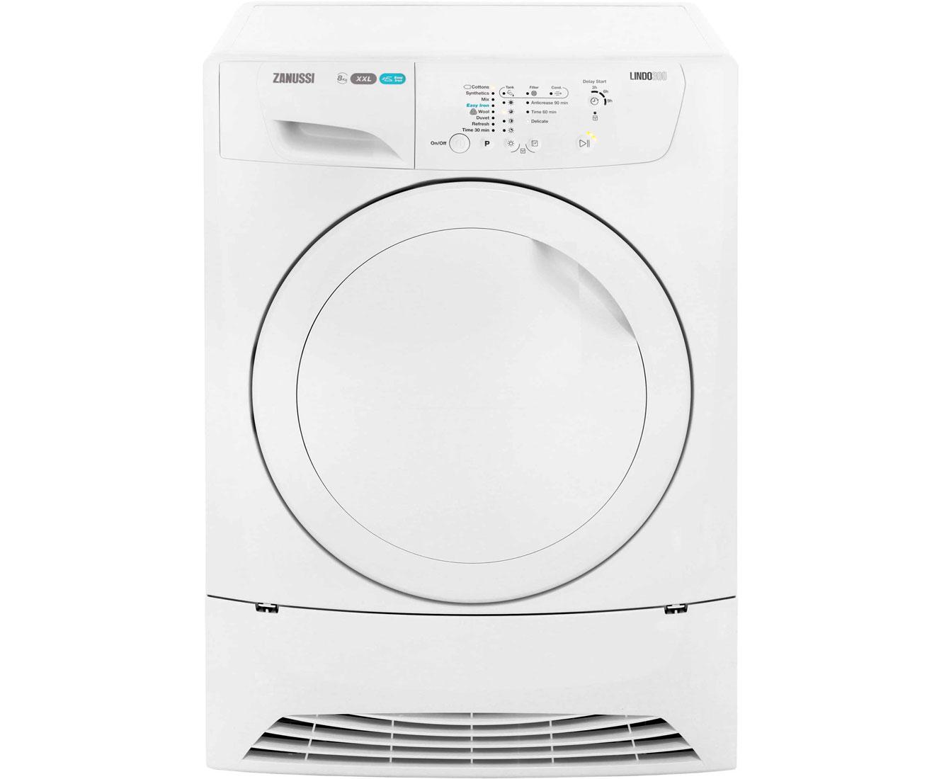 Zanussi Lindo300 ZDC8202P Free Standing Condenser Tumble Dryer in White