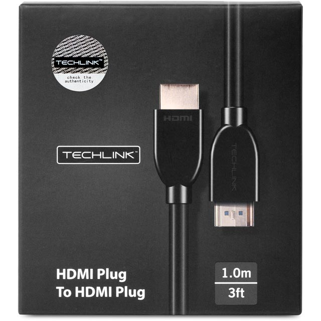 Techlink 103201 1m HDMI Cable - Black - 103201 - 1