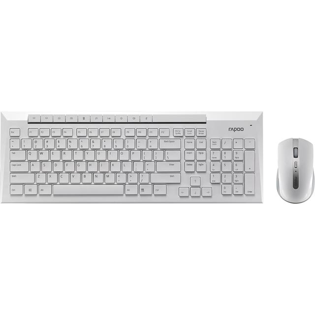 Rapoo 8200P Wireless USB Keyboard with Wireless Optical Mouse - White - 11013 - 1