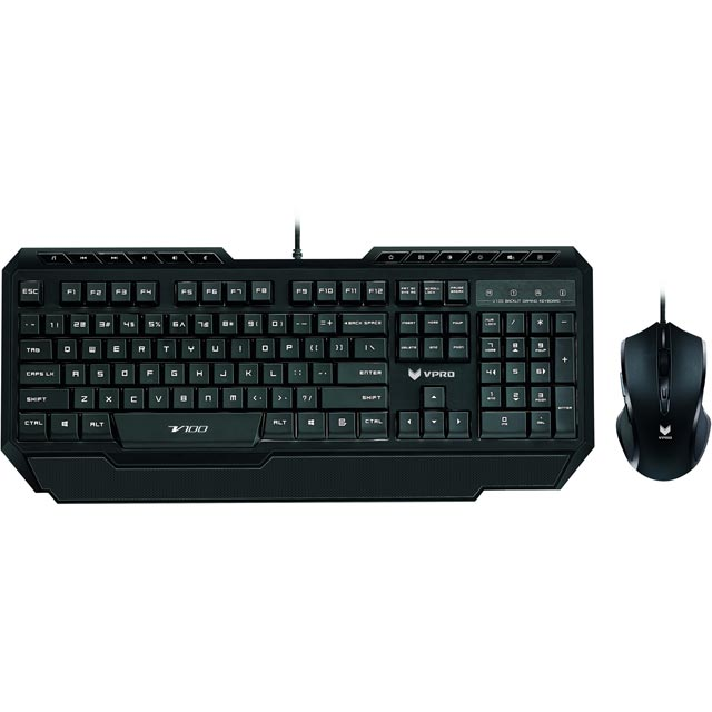 VPRO V100 Wired USB Gaming Keyboard with Optical Mouse - Black