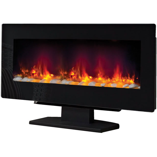 BeModern Amari Pebble Bed Wall Mounted Fire With Remote Control - Black