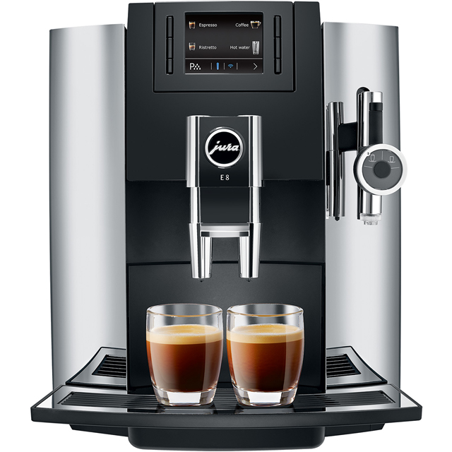Jura E8 15057 Bean to Cup Coffee Machine - Chrome