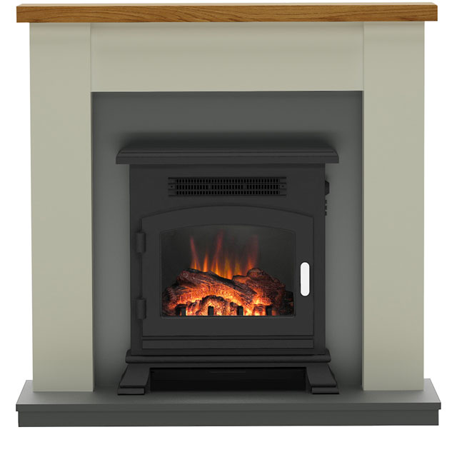 Image of BeModern Ravensdale 150738 Log Effect Suite And Surround Fireplace - Stone / Anthracite