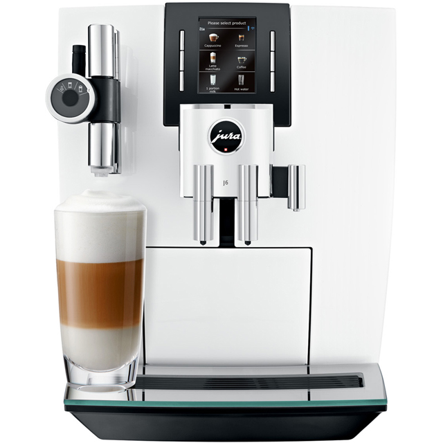 Jura J6 15165 Bean to Cup Coffee Machine - Piano White