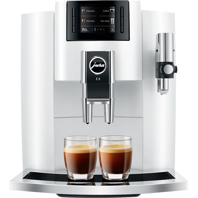 Jura E8 15306 Bean to Cup Coffee Machine - White - 15306_WH - 1