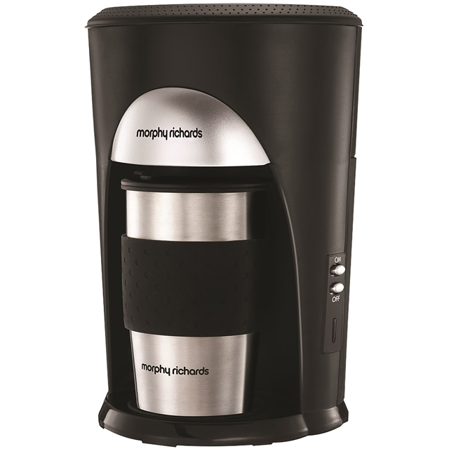 Morphy Richards On The Go 162740 Filter Coffee Machine - Black / Brushed Steel - 162740_BKBS - 1