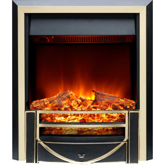 Burley Ryhall 162R-BR Log Effect Inset Fire With Remote Control - Black / Brass