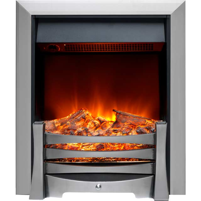 Burley Egleton 170R-SS Log Effect Inset Fire With Remote Control - Brushed Steel - 170R-SS_BS - 1