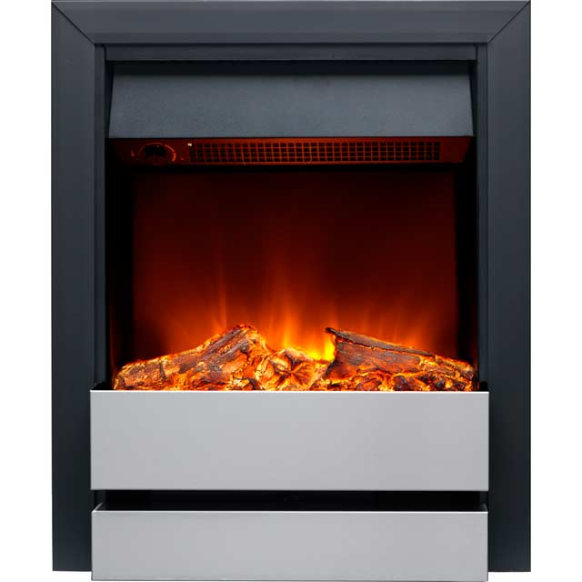 Burley Wardley 176R-BL/SS Log Effect Inset Fire With Remote Control - Black / Brushed Steel