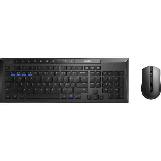 Rapoo 8200M Multi-mode Desktop Combo Set Wireless USB Keyboard - Black