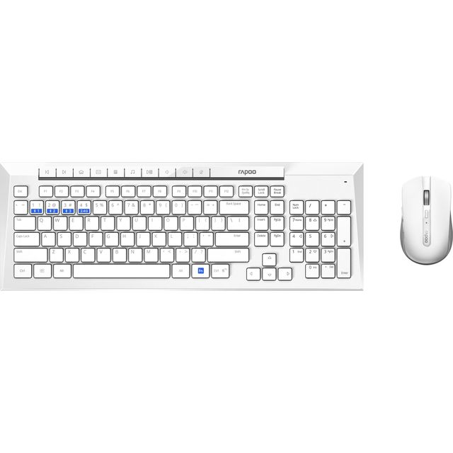Rapoo 8200M Multi-mode Desktop Combo Set Wireless USB Keyboard - White