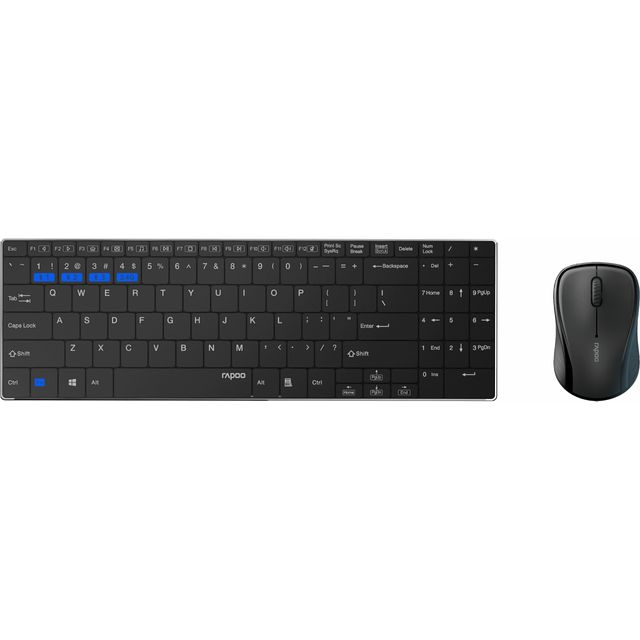 Rapoo 9060M Bluetooth Keyboard with Optical Mouse - Black