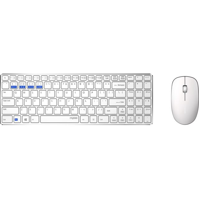 Rapoo 9300M Ultra-Slim Desktop Combo Bluetooth / Wireless USB Keyboard with Optical Mouse - White