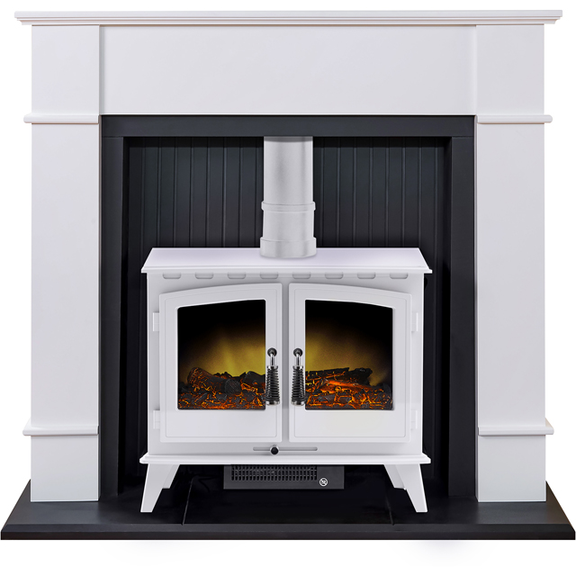 Adam Fires Oxford Suites with Woodhouse Electric Fire 21875 Log Effect Suite And Surround Fireplace - White
