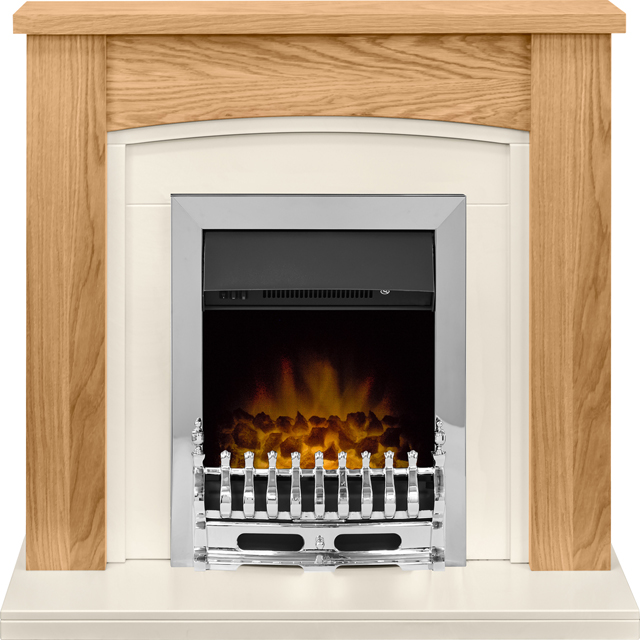 Adam Fires Chilton Suite with Blenheim Electric Fire 21876 Coal Bed Suite And Surround - Oak - 21876_OA - 1