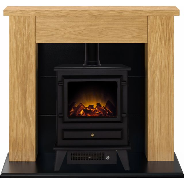 Adam Fires Stocksmoor Suite with Hudson Electric Fire 21877 Log Effect Suite And Surround Fireplace - Oak