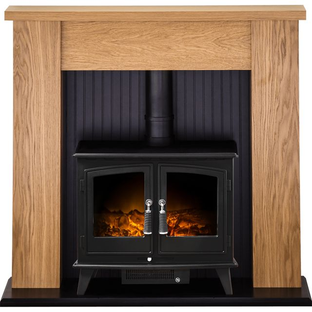 Adam Fires New England Suite with Woodhouse Electric Fire 21878 Log Effect Suite And Surround - Oak - 21878_OA - 1