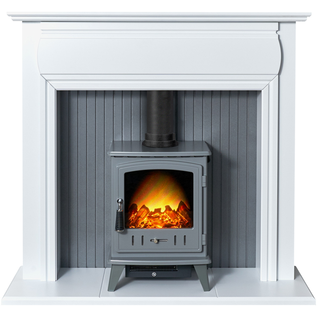 Adam Fires Florence Suite with Aviemore Electric Fire 21879 Log Effect Suite And Surround Fireplace - White