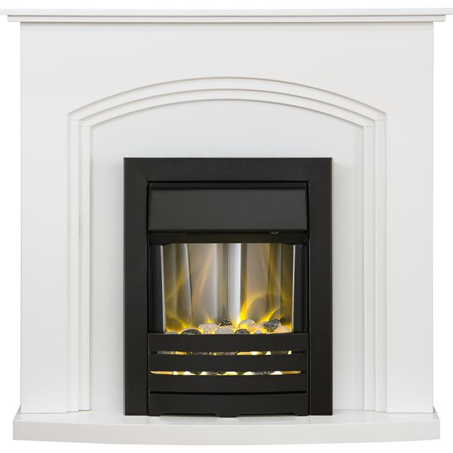 Adam Fires Truro Suite with Helios Electric Fire 21882 Pebble Bed Suite And Surround Fireplace - White