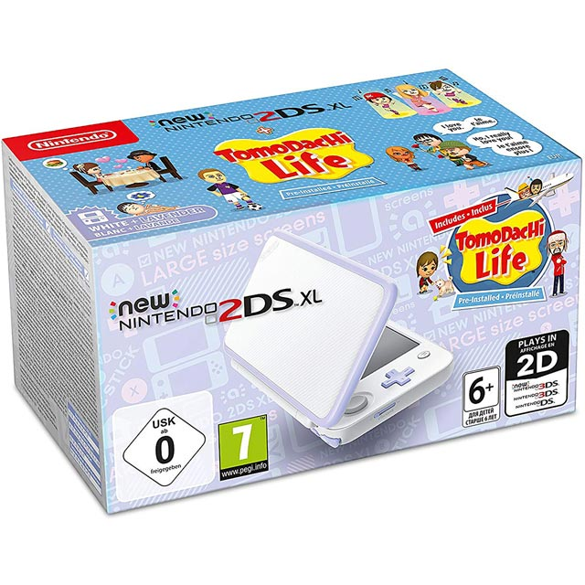 Nintendo 2DS XL 4GB with Pre Installed Tomadochi Life - White / Lavender - 2219146 - 1
