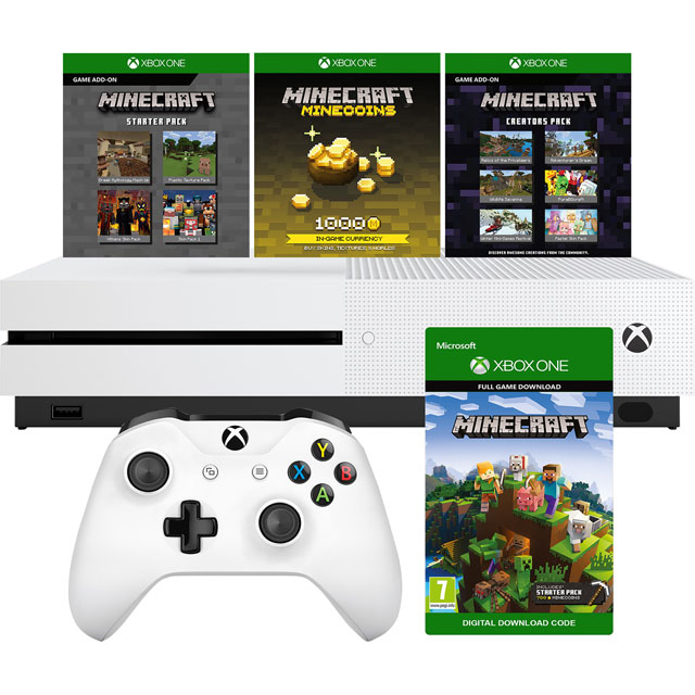 Xbox One S 1TB with Minecraft, Minecraft Starter Pack, Minecraft Creators Pack (Digital Downloads) - White - 234-00661 - 1