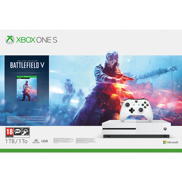 Xbox One S 1TB with Digital Download Code for Battlefield V - White