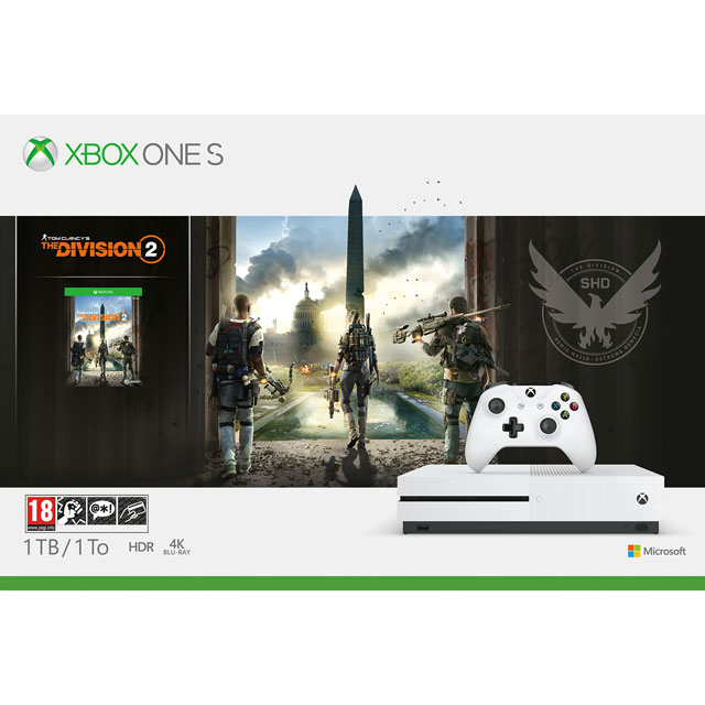Xbox One S 1TB with Tom Clancy's The Division 2 (Digital Download) with 1 Month Xbox Game Pass & 1 Month Xbox Live Gold - White - 234-00878 - 1