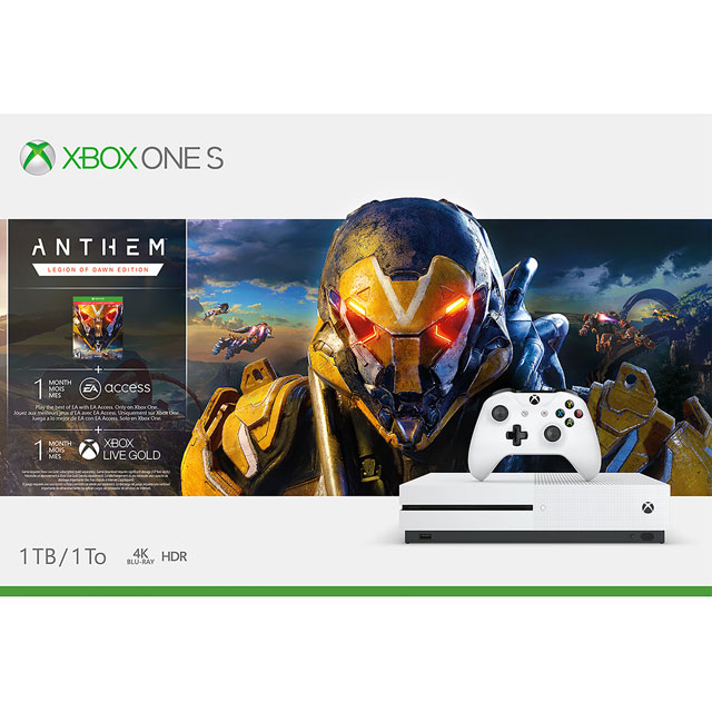 Xbox One S 1TB with Anthem Legion of Dawn Edition (Digital Download) with 1 Month EA Access, Xbox Game Pass & Live Gold - White