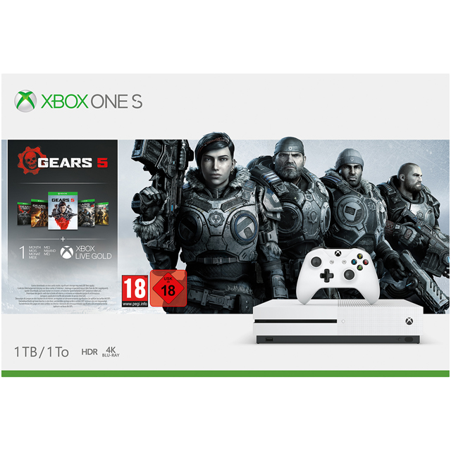 Xbox One S 1TB with Gears 5, 1 Month Game pass and 1 Month Xbox Live Gold - White - 234-01026 - 1