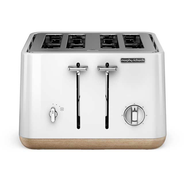 Morphy Richards Aspect 240005 4 Slice Toaster - White with Wood Trim