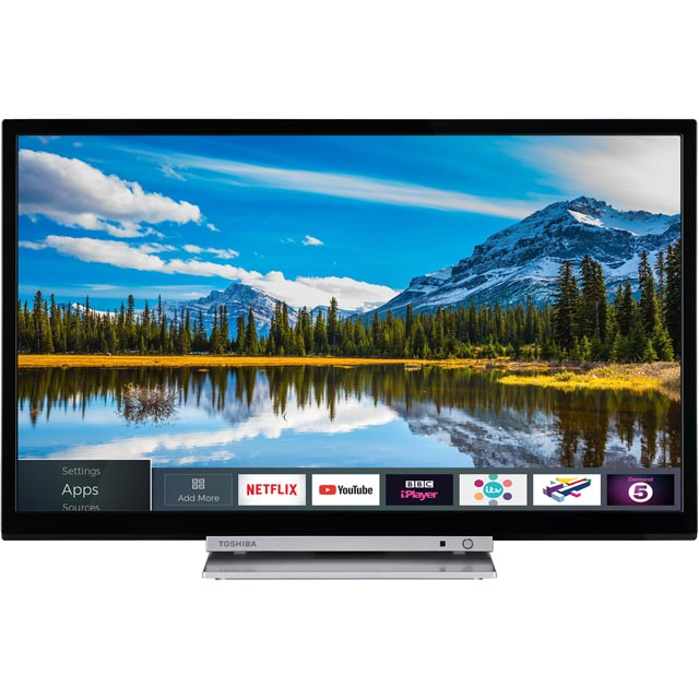 "Toshiba 24D3863DB 24"" Smart TV/DVD Combi TV - Silver / Black - 24D3863DB - 1"