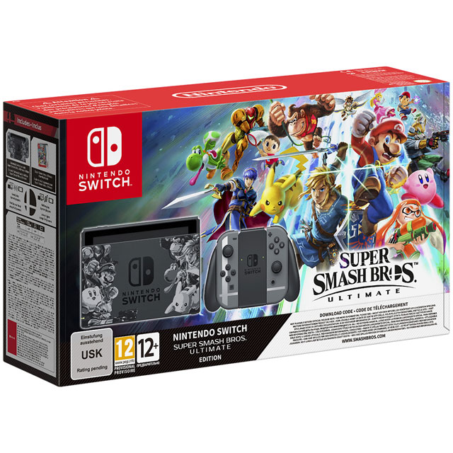 Nintendo Switch 32GB with Super Smash Bros Ultimate Edition (Digital Download) - Grey