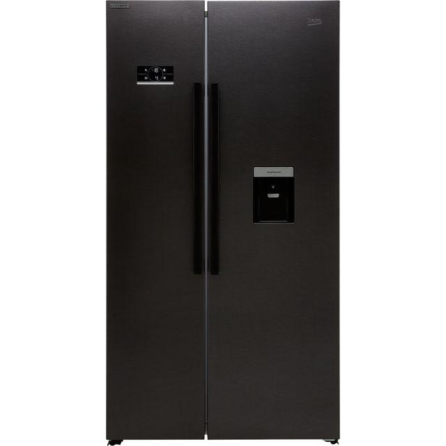 Beko HarvestFresh ASD2341VB American Fridge Freezer - Black Steel - F Rated