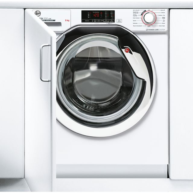Hoover H-WASH 300 LITE HBWS49D1ACE Integrated 9Kg Washing Machine with 1400 rpm - White / Chrome - C Rated