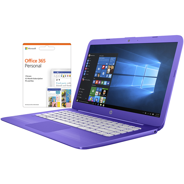 "HP Stream - 14-cb008na 14"" Cloudbook Laptop Includes Office 365 Personal 1-year subscription with 1TB Cloud Storage - Purple - 3RN81EA#ABU - 1"