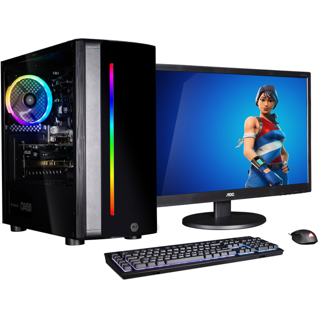 "Image of 3XS Core 1650 RGB 24"" Gaming Tower Includes Monitor, Keyboard and Mouse - 500GB SSD - Black"