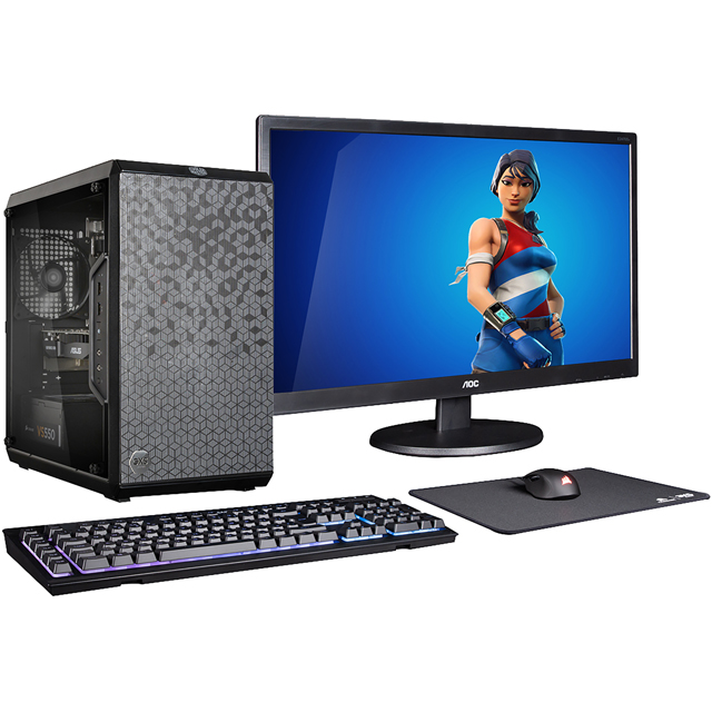 "3XS Core Gamer RGB 1050Ti Bundle Gaming Tower Includes AOC 23.6"" Full HD Monitor, Corsair RGB Keyboard, Mouse and Mouse Mat - Black - 3XS-97595 - 1"