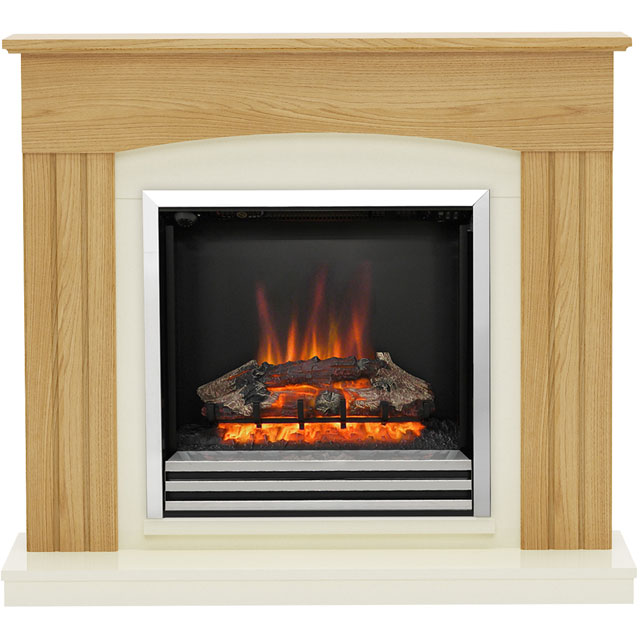 BeModern Linmere 4588 Log Effect Suite And Surround Fireplace - Oak - 4588_OA - 1
