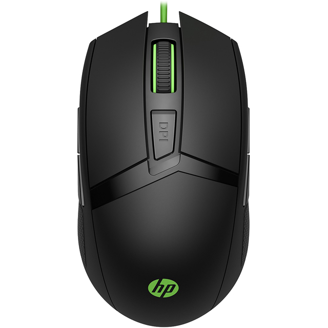 HP Pavilion 300 Wired USB Optical Mouse - Black / Green - 4PH30AA#ABB - 1
