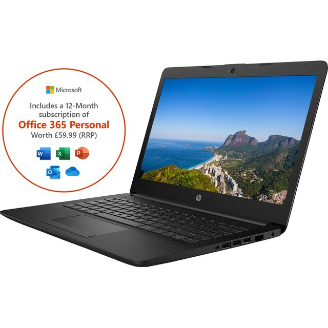 "HP Stream 14-cm0980na 14"" Laptop includes Office 365 Personal 1-year subscription with 1TB Cloud Storage - Black"