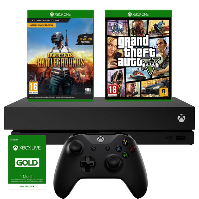 Xbox One X 1TB with PUBG and GTA V Bundle - Black