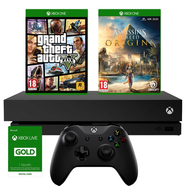 Xbox One X 1TB with GTA V and Assassin's Creed: Origins Bundle - Black