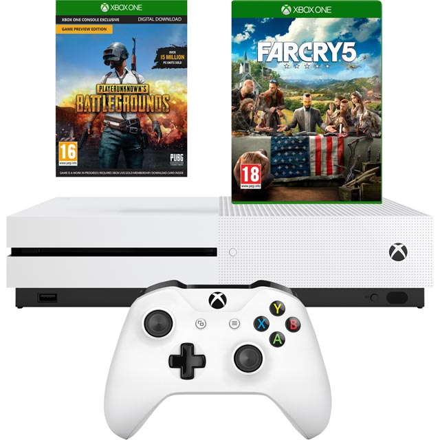 Xbox One S 1TB with Far Cry 5 and Download Code for PlayerUnknown's Battleground Bundle - White