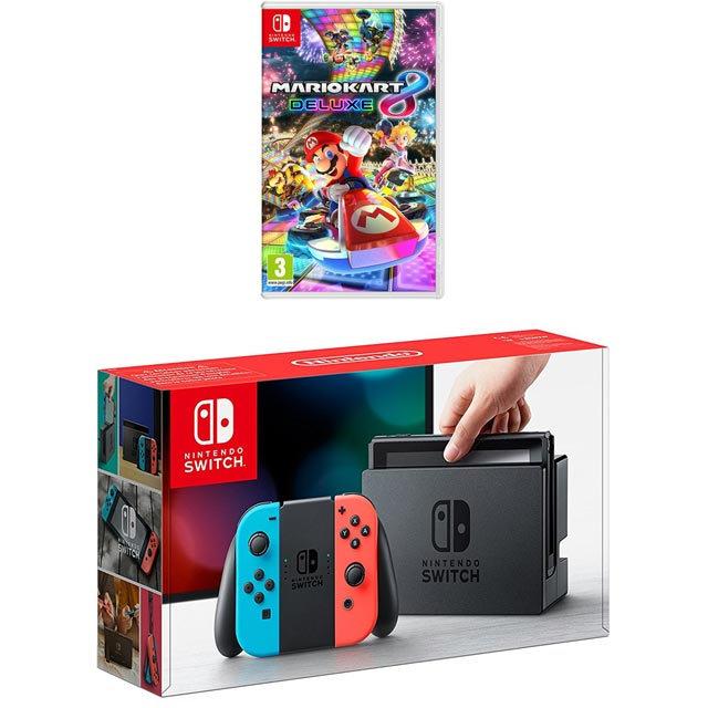 Nintendo Switch 32GB with Mario Kart 8 Deluxe Bundle - Neon Red/Blue